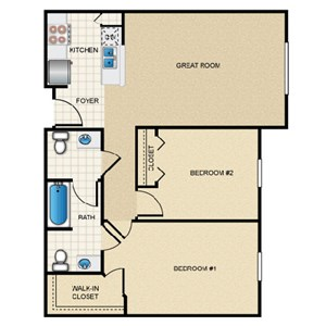 2 Bedroom/1.5 Bath