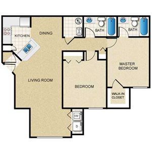 2 Bedroom/2 Bath (Straight)