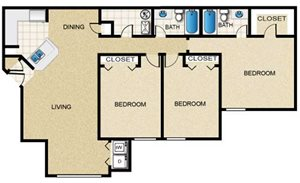 3 Bedroom/2 Bath (Straight)