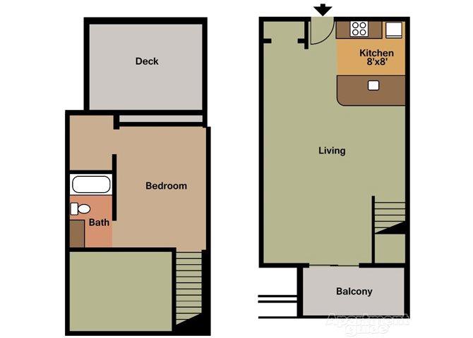 1x1D Floor Plan 1