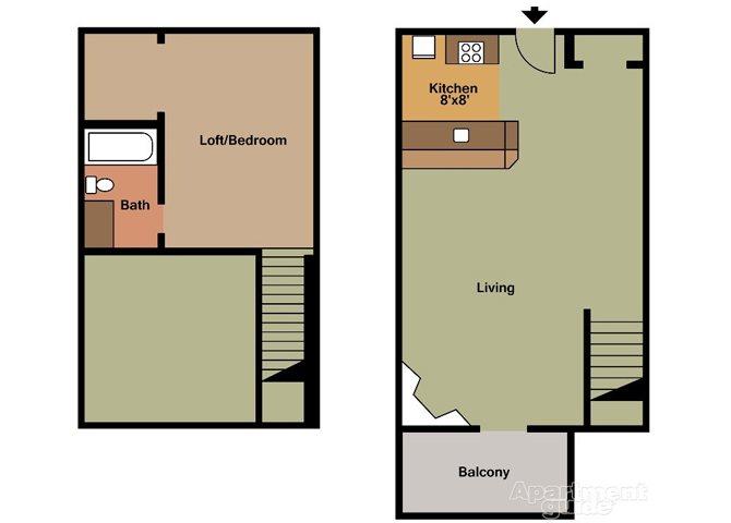 1x1L Floor Plan 2