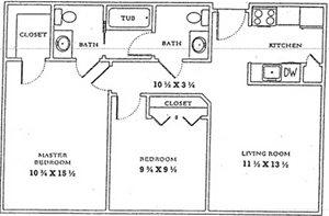2 Bedroom/1.5 Bath