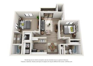 2x2 Bedroom Downstairs - R