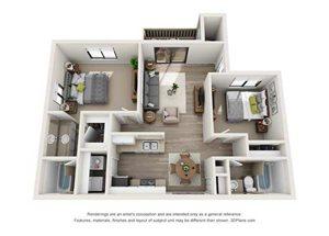2x2 Bedroom Upstairs - Ren