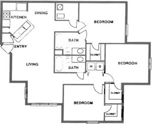 3 Bedroom/2 Bath (Split)