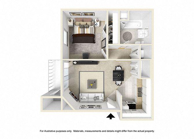 1 Bedroom Floor Plan 630 sqft