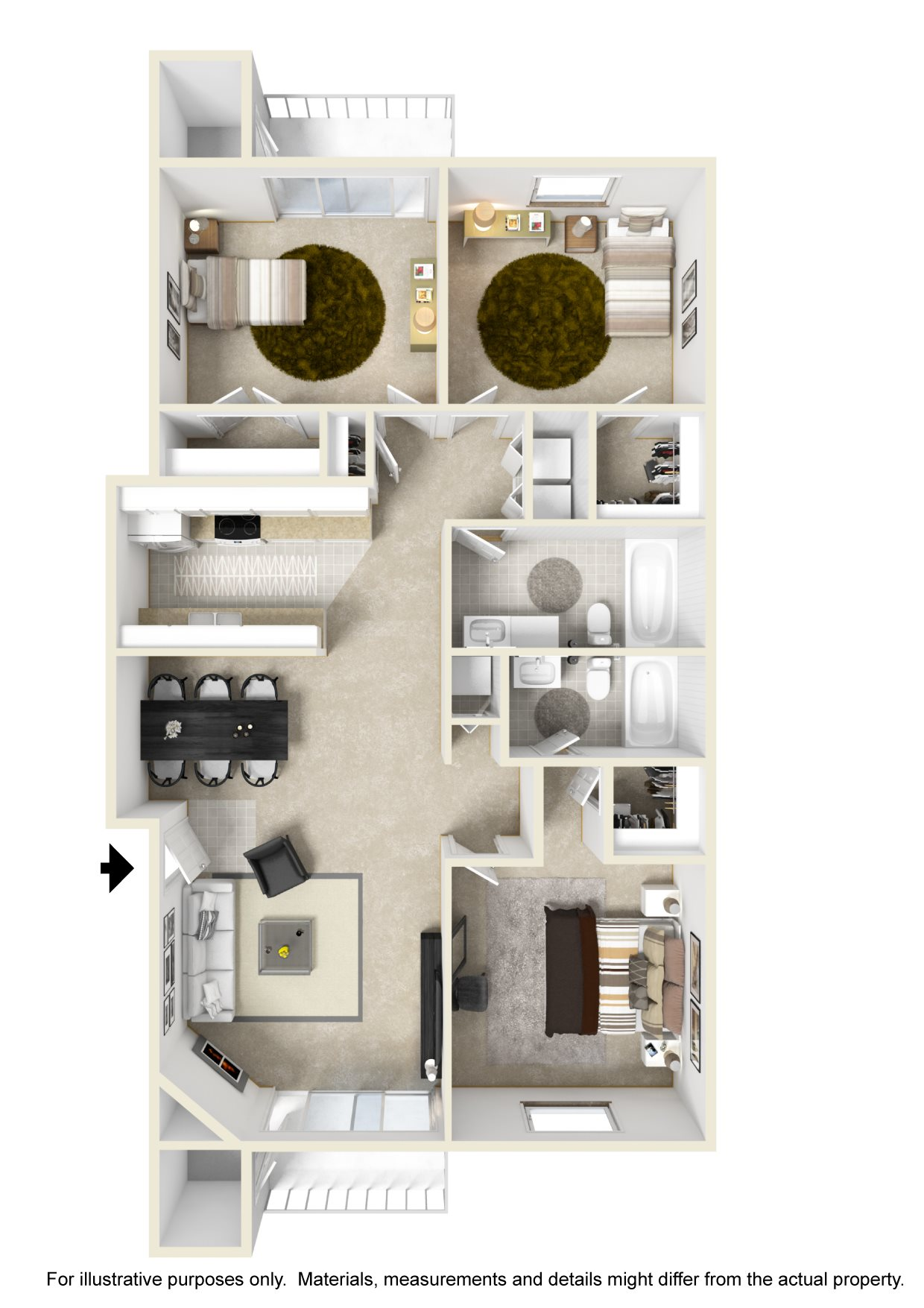 3 Bedroom Floor Plan (1280 sqft)