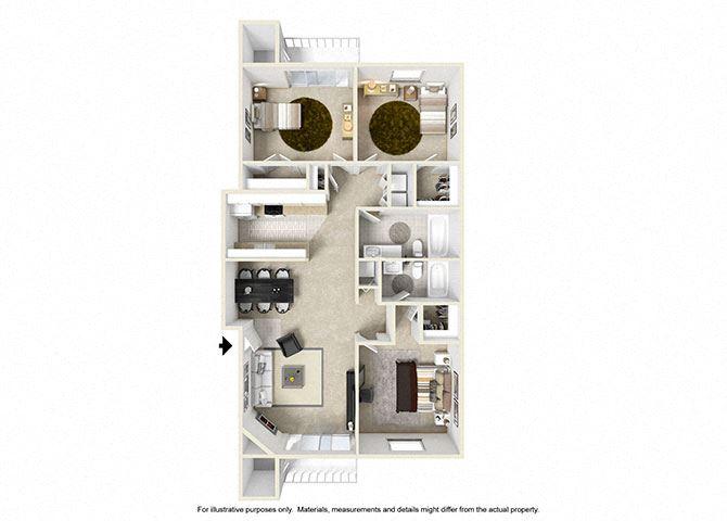 3 Bedroom Floor Plan 1280 sqft
