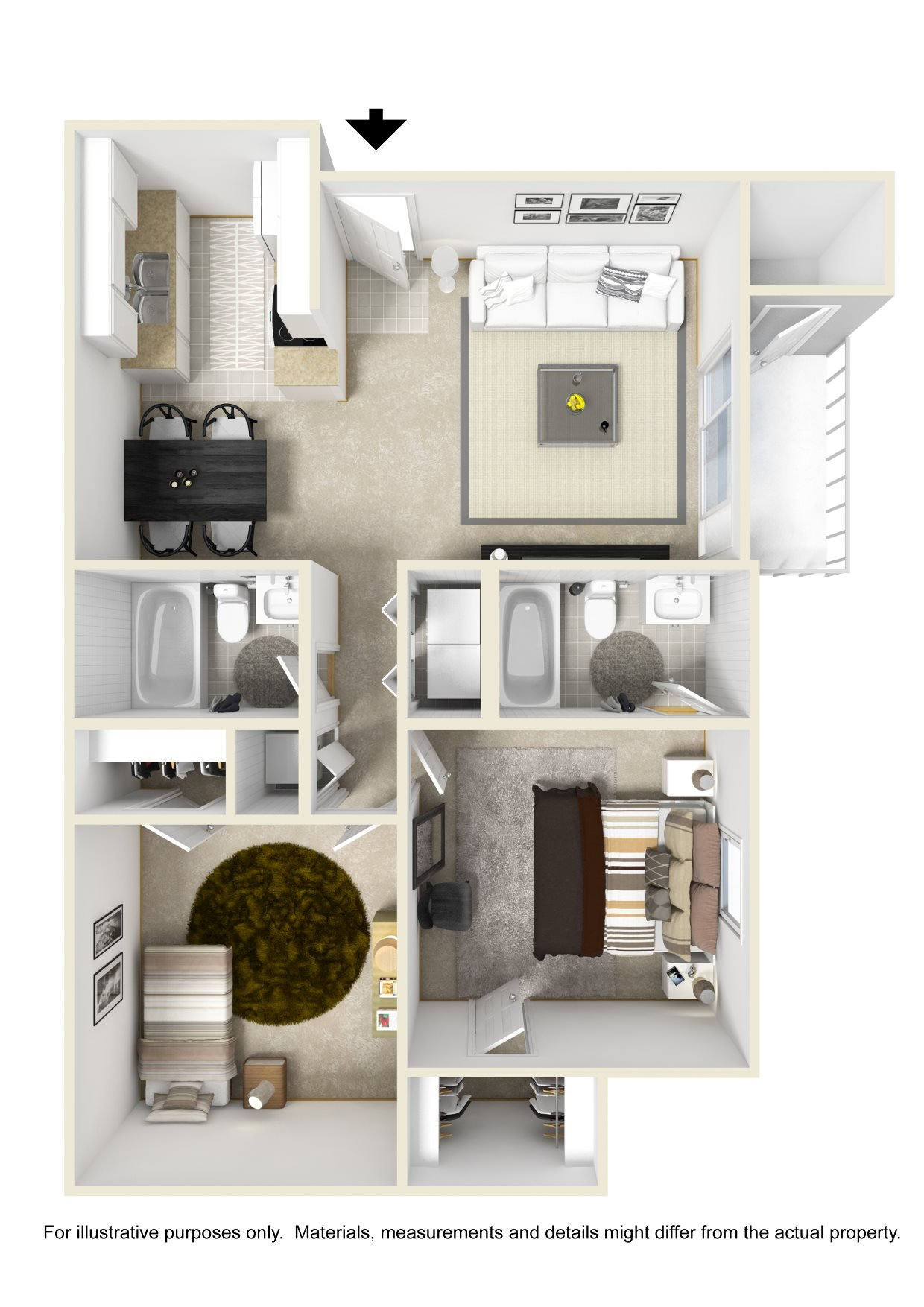 2 Bedroom Floor Plan (862 sqft)