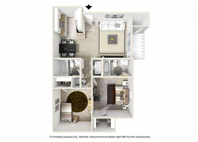 2 Bedroom Floor Plan 862 sqft