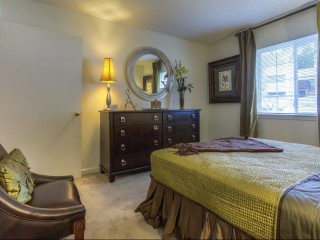 Trendy Master Carpeted Bedroom at Brannigan Village Apartments, North Carolina