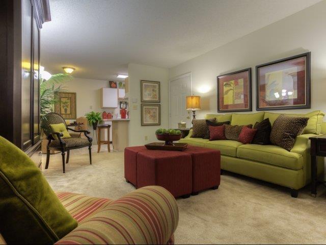 Contemporary Living Room at Brannigan Village Apartments, Winston Salem, North Carolina