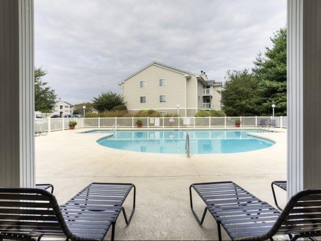 Shaded Lounge Area by Pool at Brannigan Village Apartments, Winston Salem, 27127