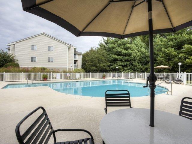 Pool Seating at Brannigan Village Apartments, Winston Salem, North Carolina