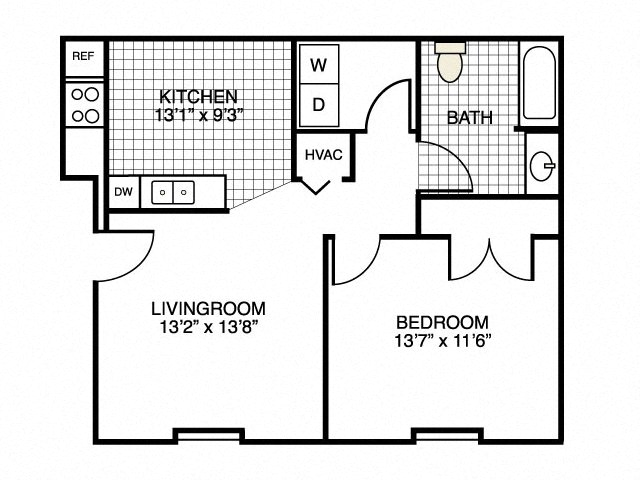 Genial 1 Bedroom Floor Plan At River Landing Apartments, Myrtle Beach, SC, 29579