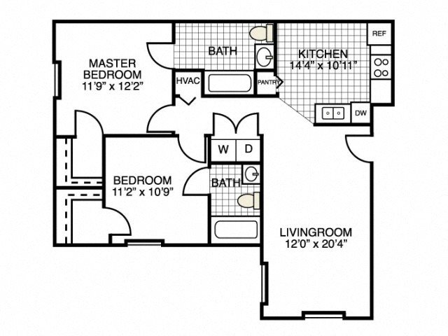 2 Bedroom Floor Plan at River Landing Apartments, Myrtle Beach, SC