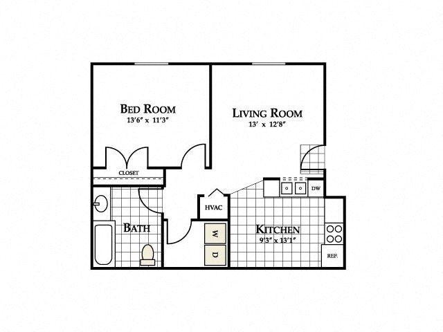 Serenity Floor Plan at Ascot Point Village Apartments, North Carolina, 28803