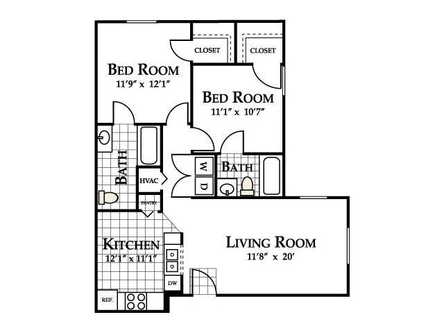 Unity Floor Plan at Ascot Point Village Apartments, Asheville, NC, 28803