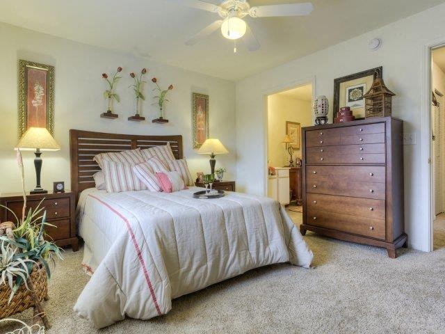 Cozy Master Bedroom Detail at Ascot Point Village Apartments, Asheville, North Carolina