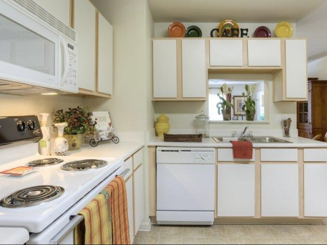 Featured Microwave, Stove, Oven, Dishwasher in Kitchen at Ascot Point Village Apartments in Asheville, NC