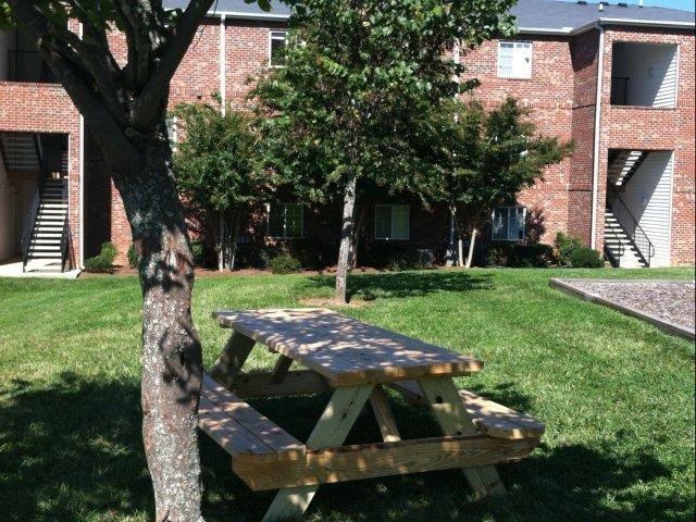 Backyard Sitting Area at Ascot Point Village Apartments, Asheville, NC
