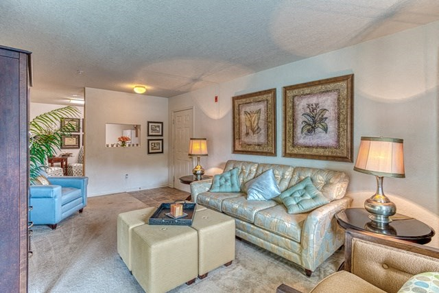Stylish Living Room at Copper Mill Village Apartments, High Point, NC, 27265