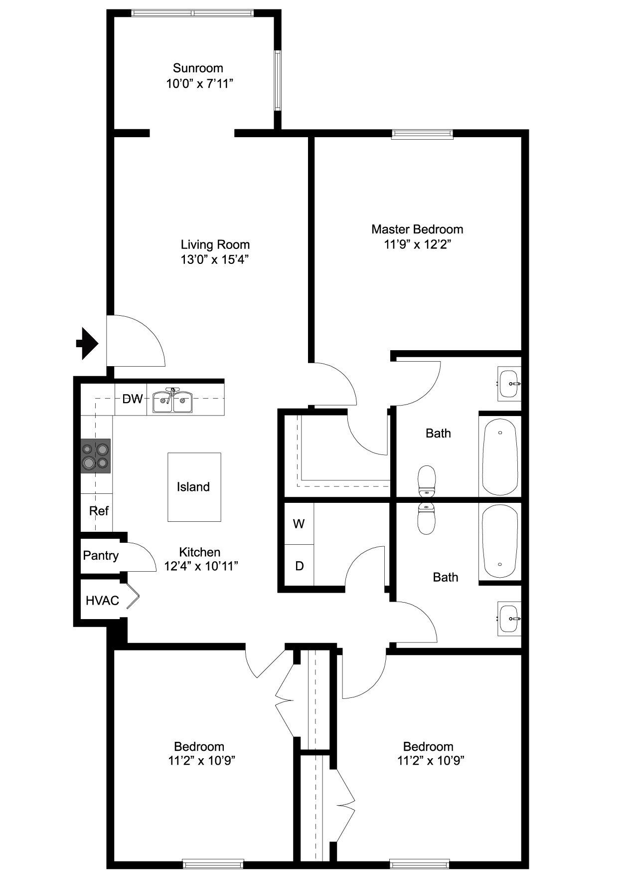 3 Bedroom Floor Plan 2D