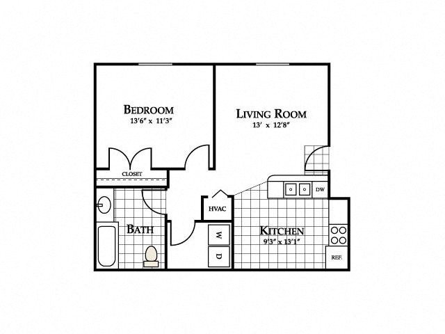 One Bedroom Floor Plan at Deer Meadow Village Apartments, South Carolina, 29209