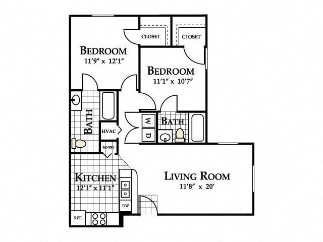 Two Bedroom Floor Plan at Deer Meadow Village Apartments, Columbia, SC