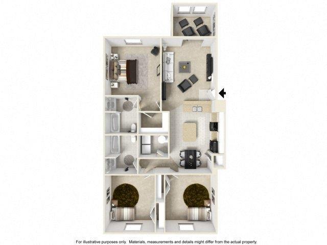 Three Bedroom with Sunroom Floor Plan at Deer Meadow Village Apartments, Columbia, South Carolina