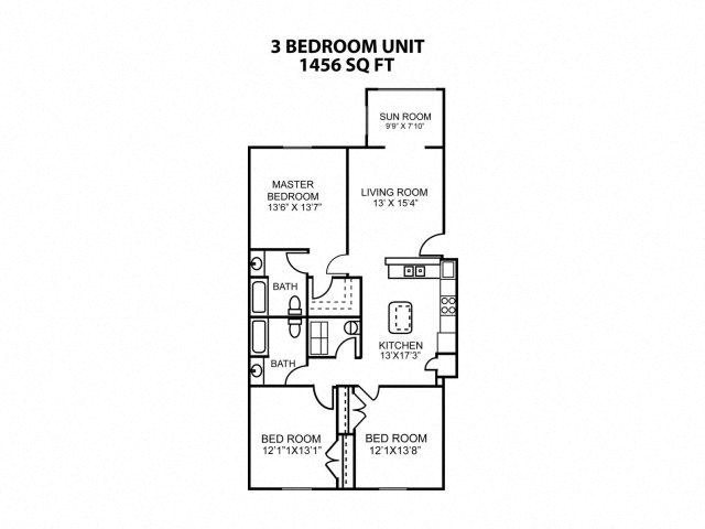 Floor plan at Eagle Point Village Apartments, North Carolina, 28314