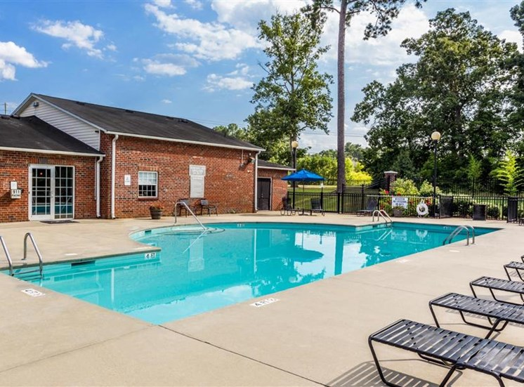 Pool Side Relaxing Area at Eagle Point Village Apartments, North Carolina