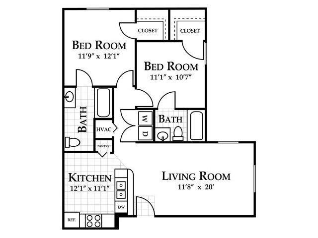 2 bedroom (sunroom optional) Floor Plan 2