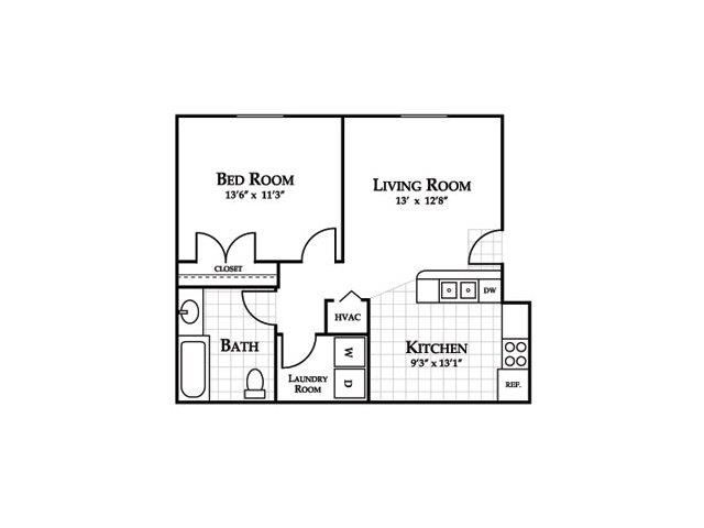 One Bedroom Floor Plan at Cedarcrest Village Apartments, Lexington, SC