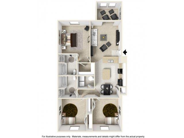 Three Bedroom Floor Plan at Cedarcrest Village Apartments, Lexington