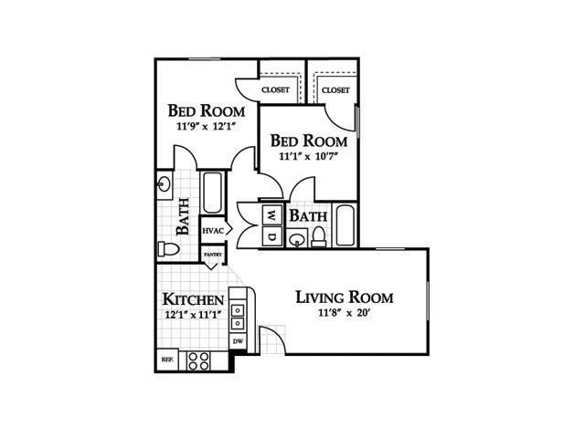 Two Bedroom Floor Plan at Cedarcrest Village Apartments, South Carolina, 29072