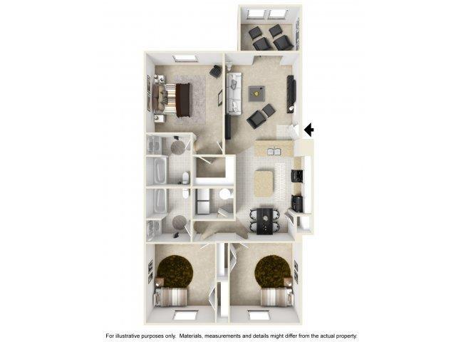 2 Bedroom Floor Plan at Cobblestone Village Apartments, South Carolina, 29483