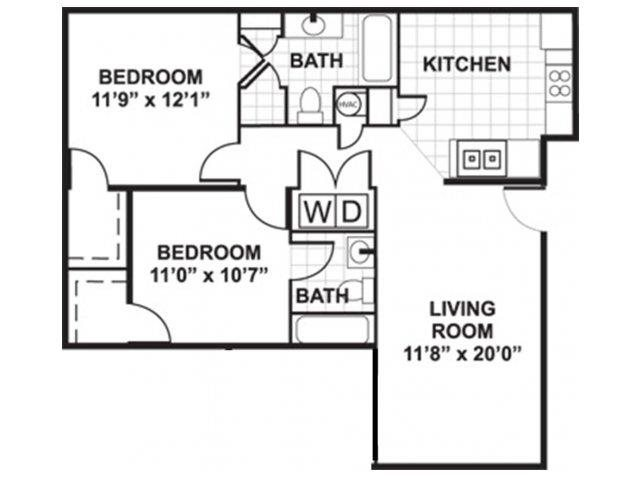 Two Bedroom (sunroom optional) Floor Plan at Boltons Landing Apartments, Charleston, SC, 29414