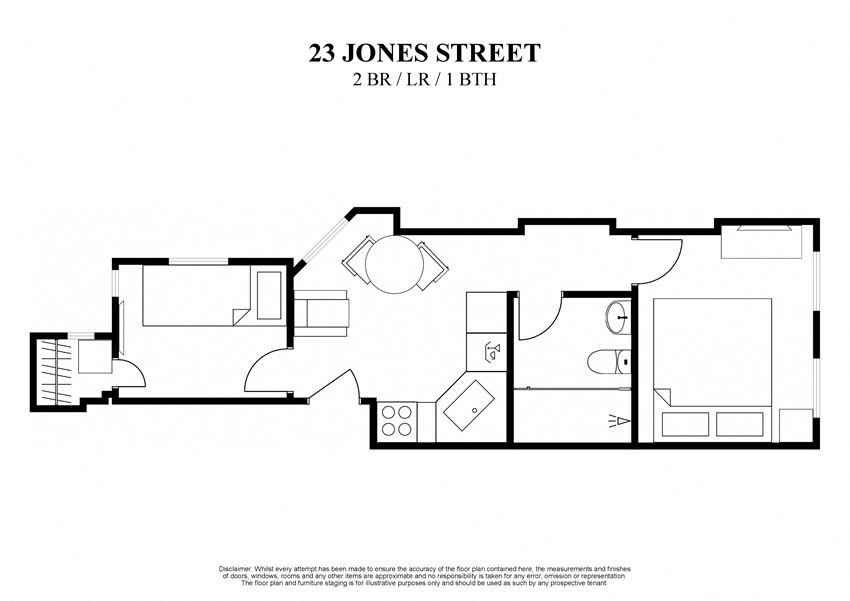 2D floor plan for furnished two bedroom with living room and one bathroom at 23 Jones Street