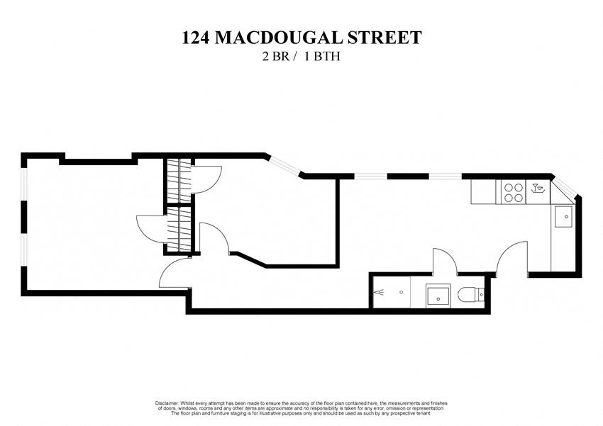 2D floor plan for 2 bedroom one bathroom at 124 Mac Dougal Street New York
