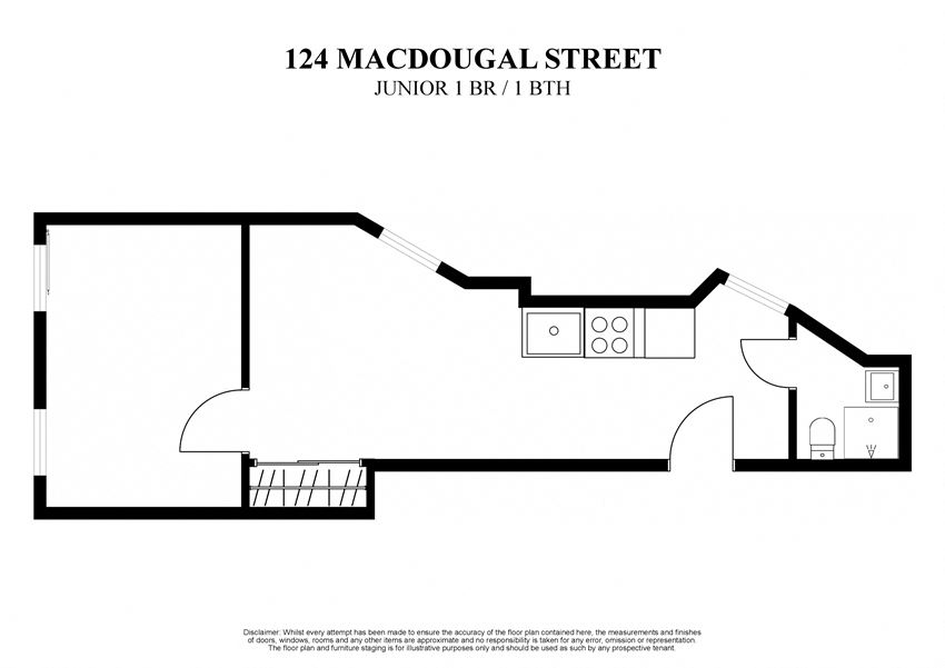 2D floor plan for Junior one bedroom one bathroom at 124 MacDougal Street