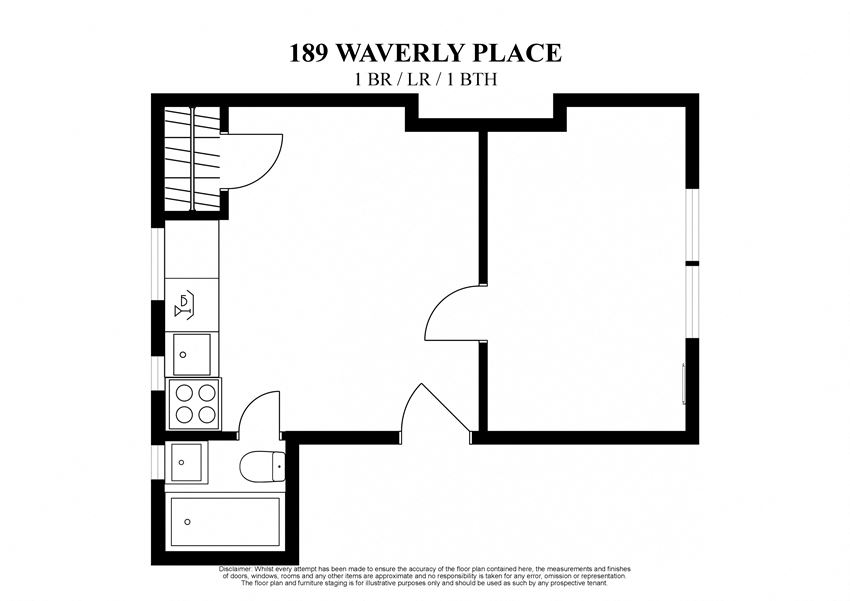 2D floor plan of 1 bedroom with living room at 189 Waverly Place New York