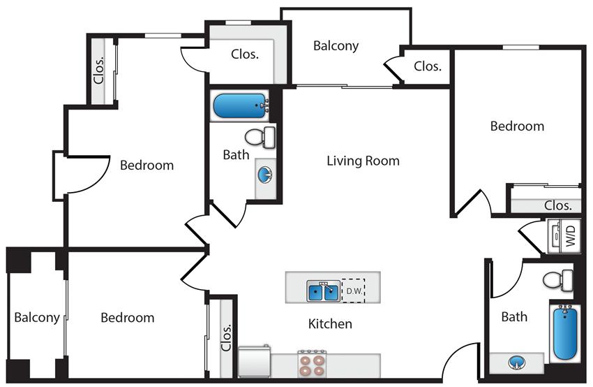 3 Bedroom 2 Bath - Plan C2