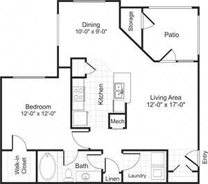 A1 1 bedroom 1 bathroom floorplan at Falls Pointe at the Park Apartments in Durham, NC