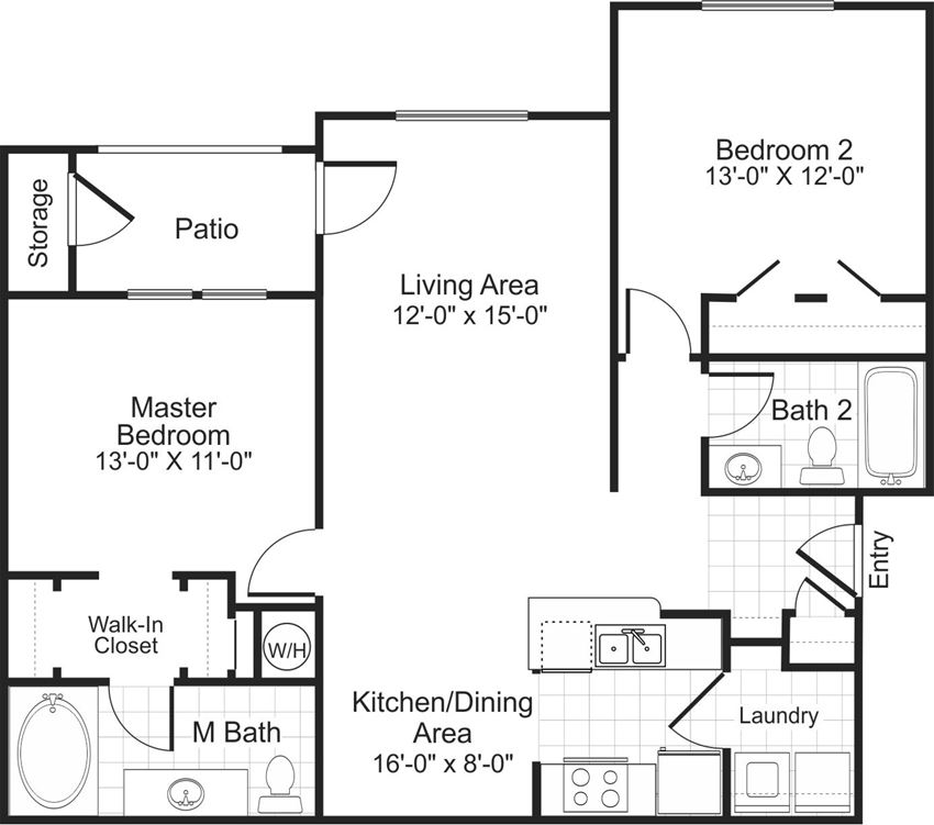B1 2 bedroom 2 bathroom floorplan at Falls Pointe at the Park Apartments in Durham, NC