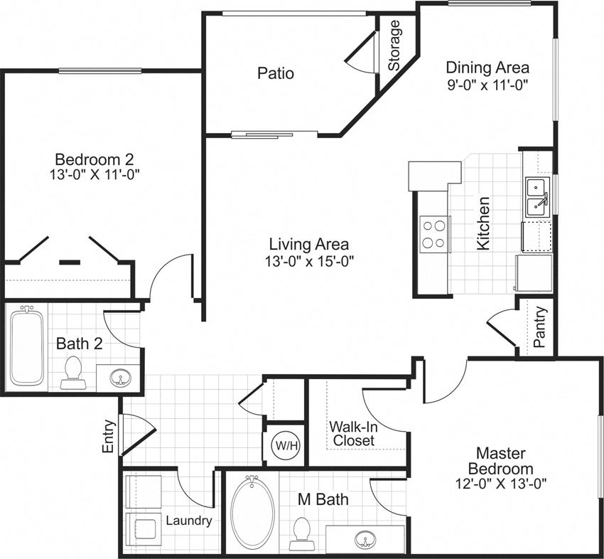 B2 2 bedroom 2 bathroom floorplan at Falls Pointe at the Park in Durham, NC