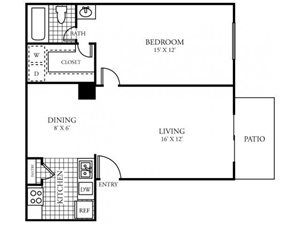 Silverado Apartments|B Floor Plan 1 Bedroom 1 Bath