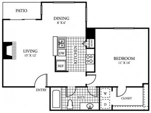 Silverado Apartments|C Floor Plan 1 Bedroom 1 Bath