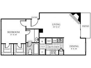 Silverado Apartments|D Floor Plan 1 Bedroom 1 Bath
