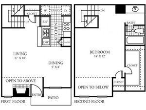 Silverado Apartments|E Floor Plan 1 Bedroom 1 Bath